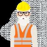 Illustration av underhållsarbetare, äldre man med skägg